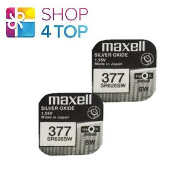 2 Maxell 377 376 Sr626Sw Batteries Silver 1.55V Watch Battery Exp 2022 New