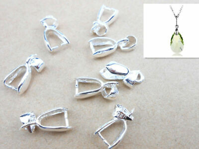 10PCS L 925 Sterling Silver Bail Connector Bales Pinch Clasp Pendant Making Gift