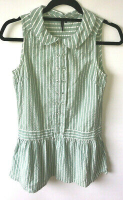 c55816be7ffc Topshop Striped Mini Dress Green White Pockets Drop Waist Textured Cotton  Size 8