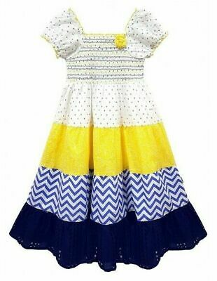 New Domino Girl/'s Cute Cap Sleeves Butterfly Patchwork Print Hanky Party Dress