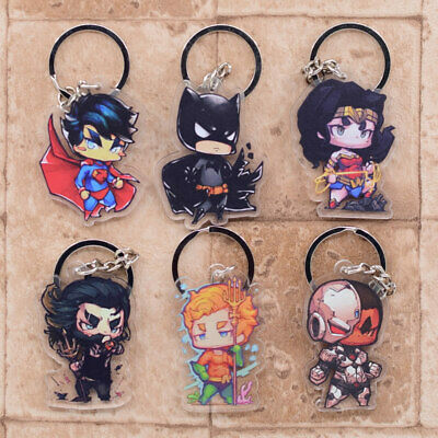 Hot Dc Superhero Superman Batman Aquaman Keyring Double Sided Acrylic Keychain