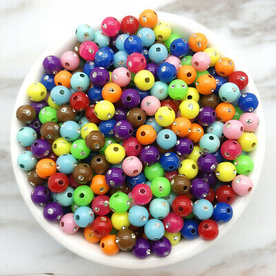 NEW DIY 6/8/10mm Diamond Acrylic Round Pearl Spacer Loose Beads Jewelry Making