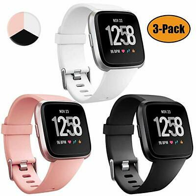 3PACK Soft Silicone Replacement Sports Watch Band for Fitbit Versa / Lite Watch