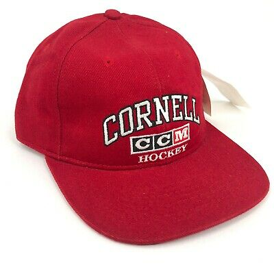 cbd085d2298574 Vintage Cornell University Hockey CCM Snapback Hat Cap Red White Black NWT