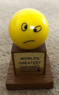 Vintage  Trophy Ornament GIft ~ Worlds Greatest Quitter (smoking)