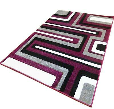Clearance Purple Silver Hand Carved Soft Heavy Extra Large Area Rug Mat Sale