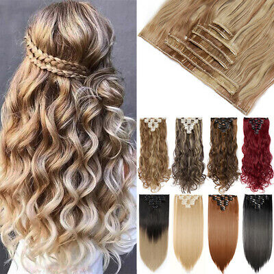 100% Natural Hair Extensions As Human Real Thick Fake 8pcs Full Head Clip In UT8