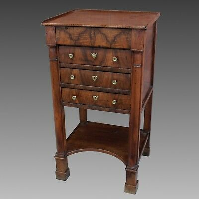 Antique Empire Bedside Table Cabinet Chest of drawers in Walnut - 19th century