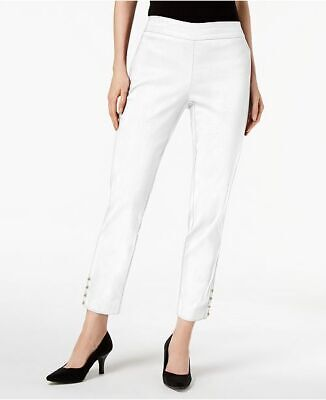 JM Collection Womens Size S Bright White Solid Pants Ankle Chain Detail NWT *d