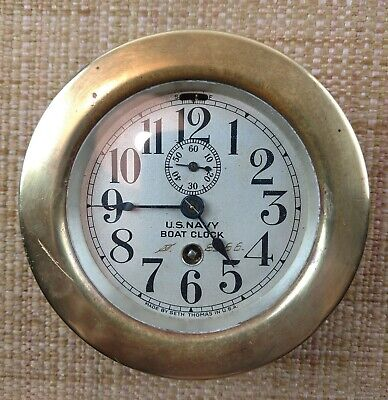 """Seth Thomas US NAVY BRASS SUBMARINE SHIPS BOAT CLOCK 3 1/2"""" WWII AS-IS."""