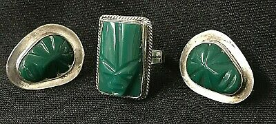 Vintage * STERLING * Carved Jade / Onyx * Mask * 3 pc set * 1940's MEXICO