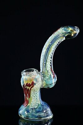 Usa Tobacco Smoking Hand Pipe Blown Glass Inside Out Gold Fumed Bubbler Dj233