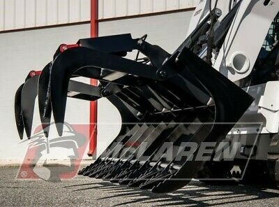 """Track Loader 66"""" Dual Cylinder Root Rake Grapple Attachment for Gehl"""