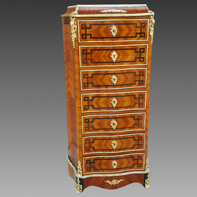 Napoleon III Secretaire Chest of Drawers mahogany rosewood inlaid - 19th