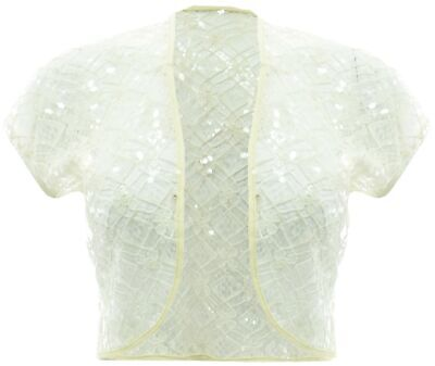 Womens New White Lace Silver Sequin Bolero Crop Top Cap Sleeve Shoulder Cover