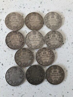 Lot of 11 Sterling Silver 50 Cent Canada Pcs 1908,1916, 1918, 5x1919, 2x29, 34