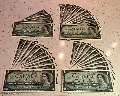 Lot of 34, $1 1967 Bank Notes, Bank of Canada, One Dollar, Various Serial #