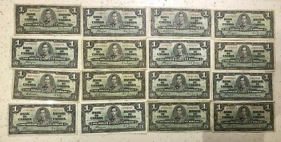 Lot of 16 1937 Bank of Canada $1 Banknote Various Serial Numbers
