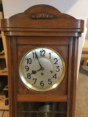 1921 Junghans Westminster Chime Wall Clock. Oak Case.