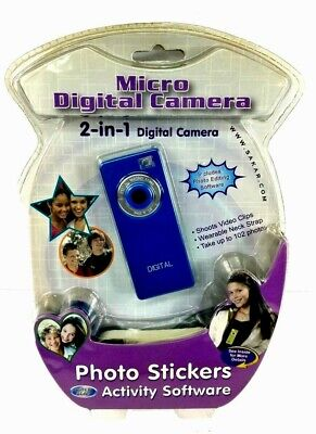 CYBER GEAR 2-IN-1 Blue Micro Digital Camera Photos Stickers Activity Software