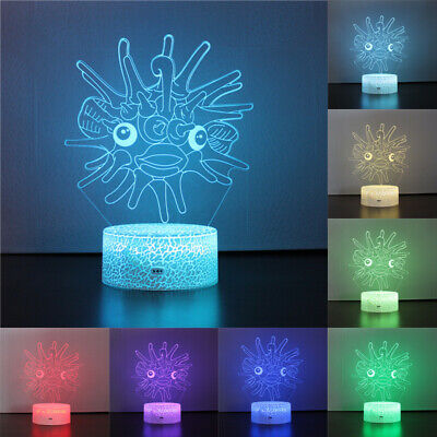 Pufferfish 3D Acrylic LED Home Decor 7 Colors Night Light Table Desk Lamp Gift