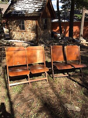 Vtg Antique Wooden Movie Theater Seats Set of 4 Opera House Chairs Foldable Flat