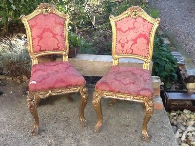Antique Pair Of French Louis Dining Chairs Faded Elegance Original Need Work.