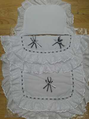 Beautiful Pram Quilt and Pillow  Set suitable for MOST PRAMS COLOUR WHITE / GREY