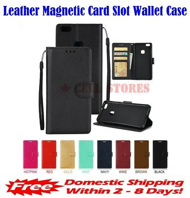 Leather Magnetic Credit Card Slot Wallet Flip Case Cover for Samsung Galaxy A50