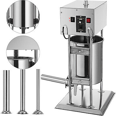 10L Electric Sausage Stuffer Filler Maker Commercial Stainless steel 4 Funnels