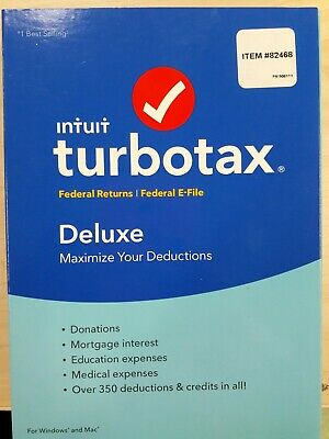 Intuit TurboTax Deluxe 2016 Federal retuns and federal E-file.