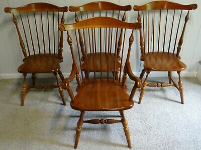 Frederick Duckloe & Bros  Cherry Dining Chair Set of 4 Comb Back Chairs CLEAN
