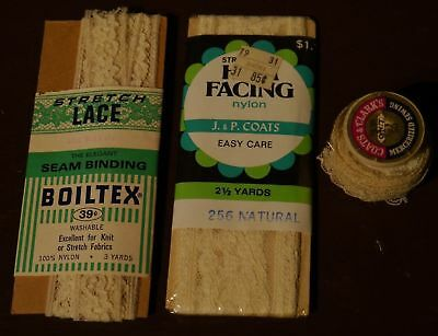 Vintage Sewing Notions Lace Thread Wood Spool Coats Clark's Facing Trim Boiltex