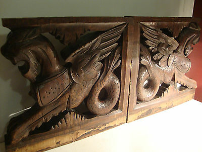 Antique 19th Century Carved Wood Corbels Griffins Sea Creatures Lions Gryphons
