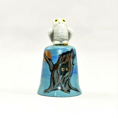 Vintage Porcelain Hand Painted Thimble by Gail Olympic National Park Owl on Tree