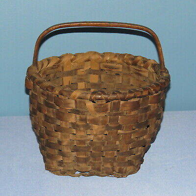 """Primitive antique woven handle basket from Northern Maine 10"""" x 6 3/4"""""""