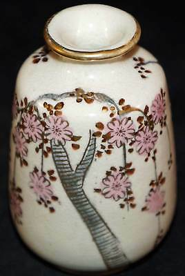 Antique Japanese Satsuma Pottery Small Vase with Pink flowers edged in Gold