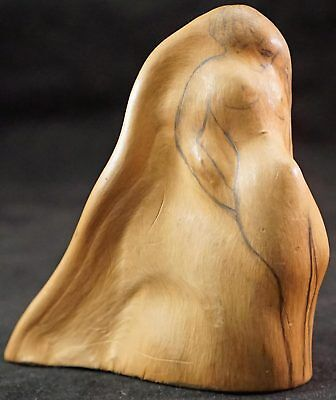 Small Cyprus Knee Natural Wood Sculpture with Nude Lady & Bearded Man