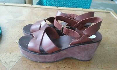 581b808f43 WOMENS GIANNI BINI Brown leather ankle strap wedge sandals Size 7.5M ...