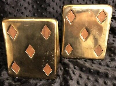 Ben Seibel Brass Bookends Jenfred-Ware Playing Cards Five of Diamonds