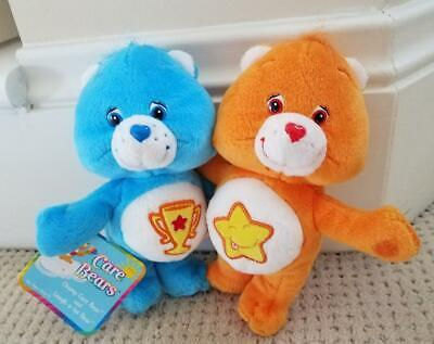 """Plush Care Bear Bears 2 Attached Champ and Laugh A Lot Blue Yellow 8"""" 2003 NWT"""