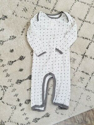 a036e87c5 Burts Bees Baby One Piece Sleep Play Suit Gray White Bees Organic Cotton 6 -9M