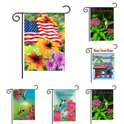 Bird Welcome Garden Flag Double-sided Spring Summer House Decor Yard Banner