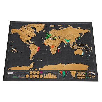 Deluxe World Map Scratch Off Poster Journal Log Giant Map Of The World Gift