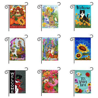 Garden Flag Welcome Cute Cat Rabbit Flower House Double-sided Decor Yard Banner