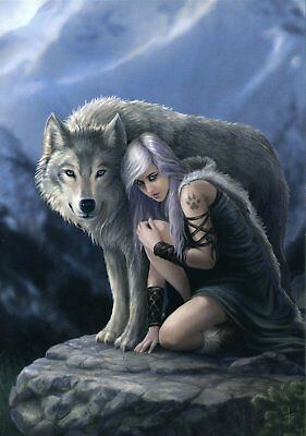 Anne Stokes Canvas Print Protector 40Cm X 30Cm On Wooden Frame - New