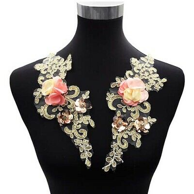 1 Pair Lace Applique Embroidery Beaded Sequin 3D Flower Lace Collar DIY Dress