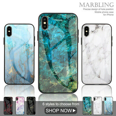 Glossy Marble Case for iPhone 6 6S 7 8 Plus XR XS Max Tempered Glass Back Cover