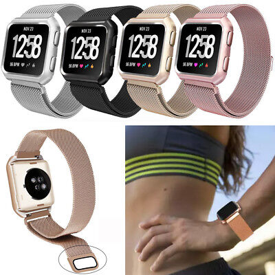Milanese Loop Stainless Steel Watch  Band +Metal Frame For Fitbit Versa / Lite