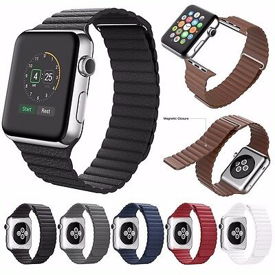 Leather Magnetic Loop Watch Strap Band For Apple Watch Series 5 4 3 2 1 40/44MM